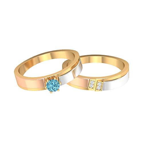 Rosec Jewels 14 quilates oro amarillo redonda round-brilliant-shape H-I Diamond Aquamarine