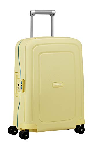 Samsonite S'Cure Spinner - Maleta de Equipaje, S (55 cm - 34 L), Amarillo (Pastel Yellow Stripes)