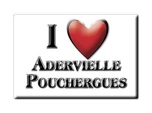 Enjoymagnets ADERVIELLE POUCHERGUES (65) Souvenir IMANES DE Nevera Francia Bourgogne IMAN Fridge Magnet Corazon I Love