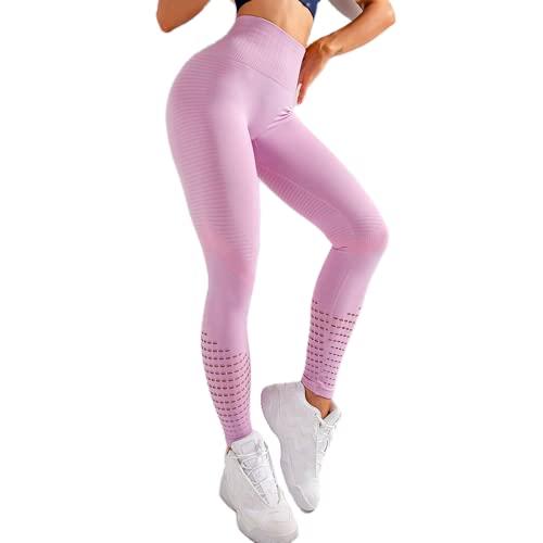 QTJY Estirar Mallas sin Costuras, Nalgas Abdominales, Pantalones de Yoga, Pantalones de Fitness, Celulitis, Flexiones, Sentadillas, Pantalones Deportivos D L