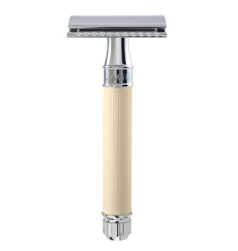 Edwin Jagger DE87 Safety Razor with Ivory Color Rubber...