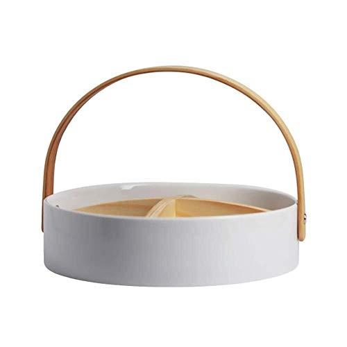 Porseleinen Fruit Bowl met houten handvat Nut Candy Basket for de woonkamer Tabel-display Decoration Storage (Size : M)