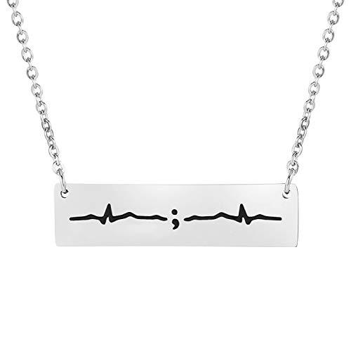 BNQL Semicolon Heartbeat Cuff Bracelet Keep Going Bracelet My Story Isn't Over Yet Inspiration Jewelry