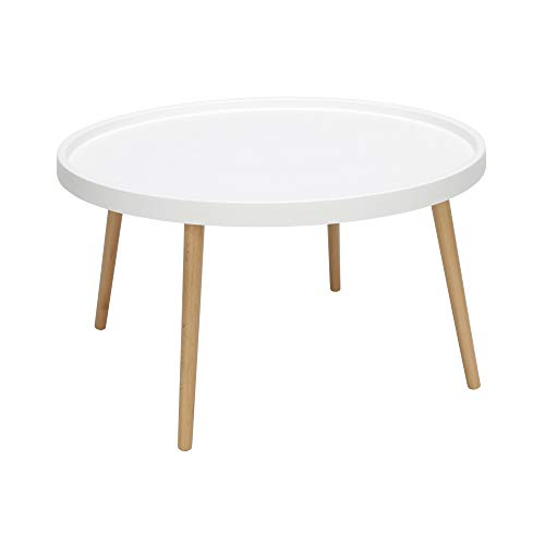 OFM 161 Collection Mid Century Modern Plastic Coffee Table, Solid Wood Legs, in White
