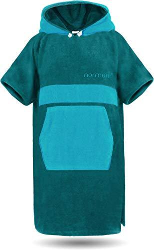 normani Baumwoll Handtuch-Poncho - Unisex Strand Umziehhilfe - geschlossener Bademantel für Damen und Herren Farbe Petrol/Türkis Größe S/M