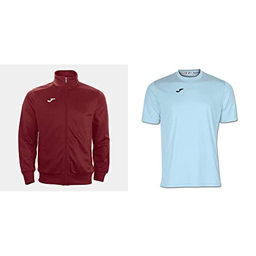 Joma Gala Sudadera, Hombre, Rojo (Burdeos), L + Combi Camiseta Manga Corta, Hombre, Azul (Royal), L