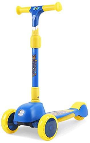 RSTJ Scooter para niños con Altura Ajustable, niños pequeños con Ruedas de Flash ensanchadas, Durante 3 a 8 años, Magro para dirigir (Color : Blue)