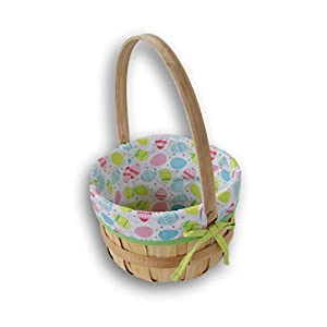 Wooden Easter Gift Basket with Liner and Mobile Handle – 12 Inch Diameter