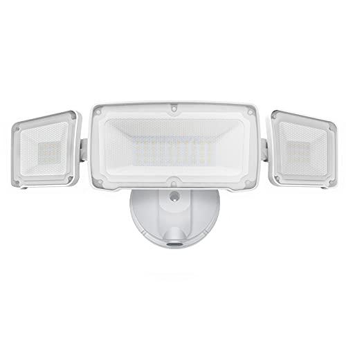 LEPOWER Dusk to Dawn LED Security Light Outdoor, 3500LM LED Flood Light with Photocell, 35W/3000K, IP65 Waterproof, 3 Head, ETL Listed Exterior Flood Lights for House, Backyard
