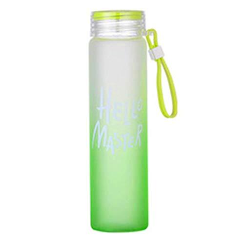 Weilifang Bunte 400ml Gradient Mattglas-Wasserflasche Student Gradienten Glas Frische Studenten Tote Wasser Cup Letters Pattern