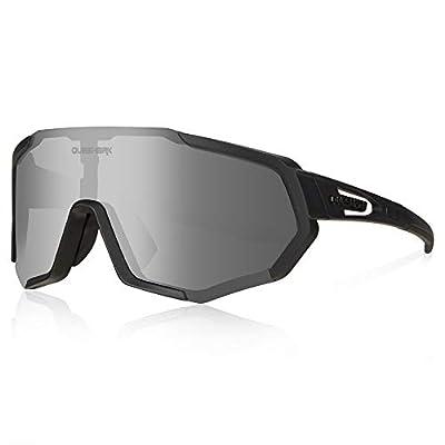 Queshark Cycling Glasses, TR90 Unbreakable Frame Polarized Sports Sunglasses, Bike Glasses for Men Women with 3 Interchangeable Lens, Anti-UV400 for Driving Fishing Glof Baseball Running Hiking