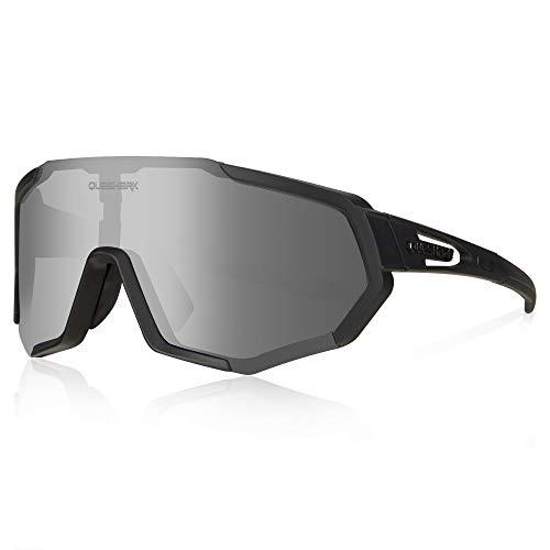 Queshark Fahrradbrille, TR90 Unbreakable Frame Polarisierte Sportsonnenbrille, Fahrradbrille für Männer Frauen mit 3 Wechselobjektiven, Anti-UV400 zum Fahren Angeln Glof Baseball Laufen Wandern