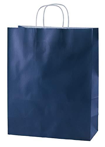 Thepaperbagstore 25 Papiertragetaschen, Recycelbar Und Wiederverwendbar, Mit Gedrehten Griffen - Wählen Sie Ihre Größe und Farbe (Mittel: 250 x 110 x 310mm, Blau)