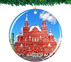 Kysd43Mill Russia Red Square Moscow Ceramic Ornaments Christmas Tree Decorations Ornaments Keepsake for Women Girls Friends