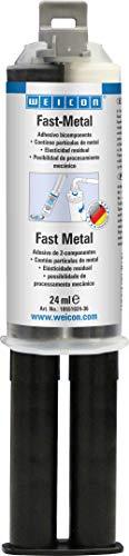 WEICON 10551024-36 Adhesivo Fast Epoxi al Minuto, 24 ml líquido, Pegamento 2 componentes para Metal, Vidrio, etc, Gris