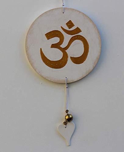 Wand Deko Om Symbol im Shabby Chic, Dekoration für Wellness und Meditation, Glücksbringer in Beige Gold, Geschenk zu Einweihung und Umzug, INaCHI Glücksbringer Design-Serie