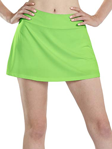 icyzone Athletic Skirts for Women - Workout Running Golf Tennis Skort with Pockets (XL, Lime Green)
