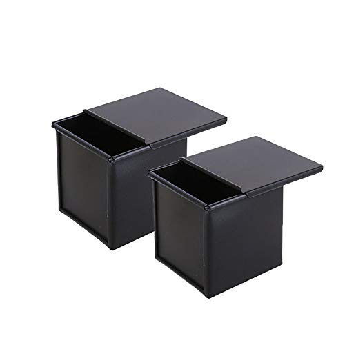 Mini Pullman Loaf Pan 2pcs with Lid Aluminum Alloy Square Cube Toast Mold Tins Bakeware for Baking Bread, Saving Time and Perfect for Less Sugary Bread