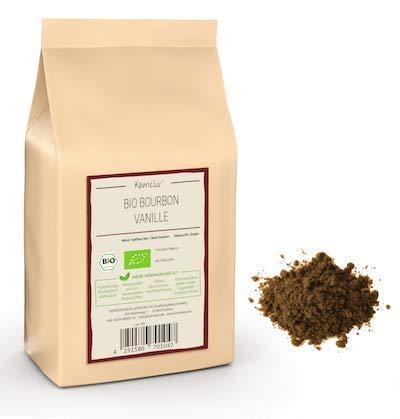 Kamelur 20g Echte BIO Bourbon Vanille gemahlen aus Madagaskar - aromatisches BIO Bourbon Vanille Pulver, ohne Zusätze - Vanillepulver in biologisch abbaubarer Verpackung