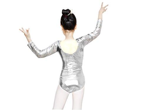 J&E-Maillots Maillot de Danza,Gimnasia Leotardo, Estirable de Ballet Body de Manga Larga, Modelo clásico para niñas