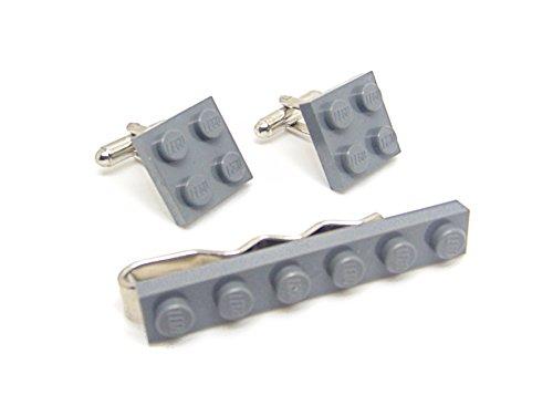 Jeff Jeffers Ensemble pince à cravate et boutons de manchette avec plaque Lego Gris