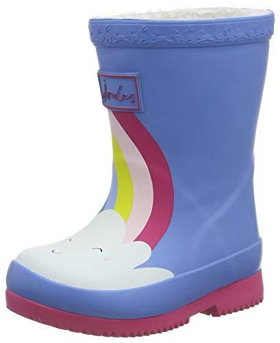 Joules baby girls Rain Boot, Blue Rainbow, 7 Toddler US