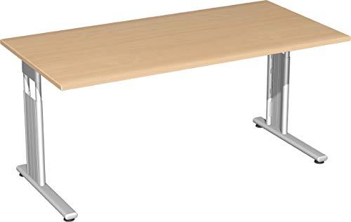 Gera Möbel S-617103-BU/SI Schreibtisch Lissabon, 160 x 80 x 68-82 cm, buche/Silber
