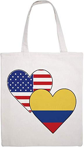 Colombia American Heart Shoulder Bag Canvas Tote Bag, Reusable Grocery Shopping Cloth Bags, Double-sided Printing Tote Handbags