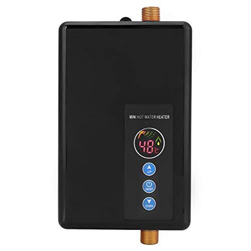 Scaldabagno Elettrico Istantaneo Tankless Rubinetto Riscaldamento Istantaneo Digitale LCD Automatico Scalda Acqua Boiler Scaldino Termostato Regolabile Portatile Programmable Timer(nero) 5.5KW