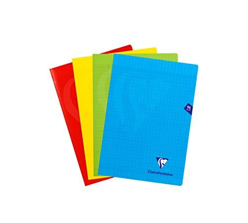 Clairefontaine 294161AMZ Lot de 4 Cahiers Agrafés Mimesys - A4 21x29,7 cm 96 Pages Grands Carreaux Papier Clairefontaine Blanc 90 g - Couverture Polypro (Bleu, Rouge, Jaune et Vert)