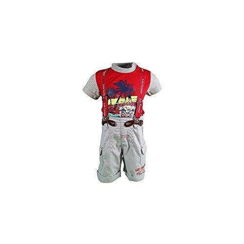 Lee Cooper - Ensemble t-Shirt et Short Salopette - bébé garçon - Gris et Rouge