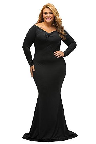 LALAGEN Women's Plus Size Off Shoulder Long Sleeve Formal Gown Black XXXL