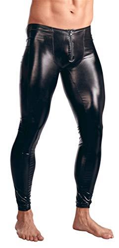 YouYaYaZ Herren Strumpfhosen Wetlook Glanz Lack-Optik Leggings Enge Hosen Unterwäsche Pants(Schwarz,2xl)