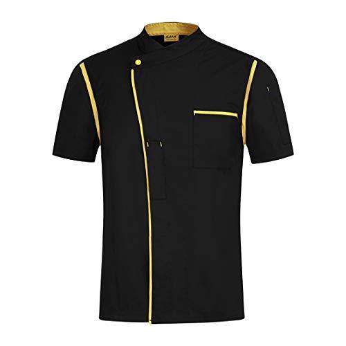 Oraunent Chef Coat Men Chef Uniform Women Works Jacket Unisex Restaurant Cooking Apparels Short Sleeve Black L