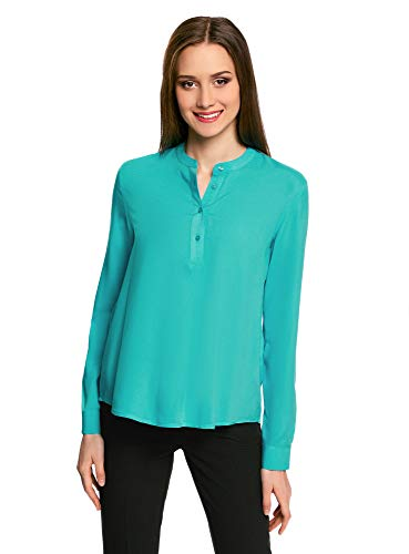 oodji Collection Mujer Blusa de Viscosa de Silueta en A