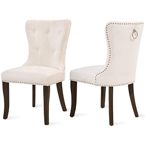 Dining Chairs Set of 2, Upholstered Beige Accent Chair Button Tufted Armless Chair with Nailhead Trim and Back Ring Pull, with Upgraded Size: 19.7 x 19.7 x 36.4 inches