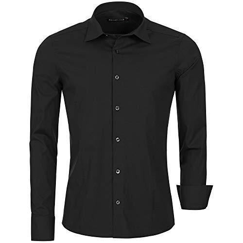 Redbridge Herren Hemd Slim Fit Business Hochzeit Freizeithemd Langarm Bügelleicht R-2111 (S, Schwarz (Black))