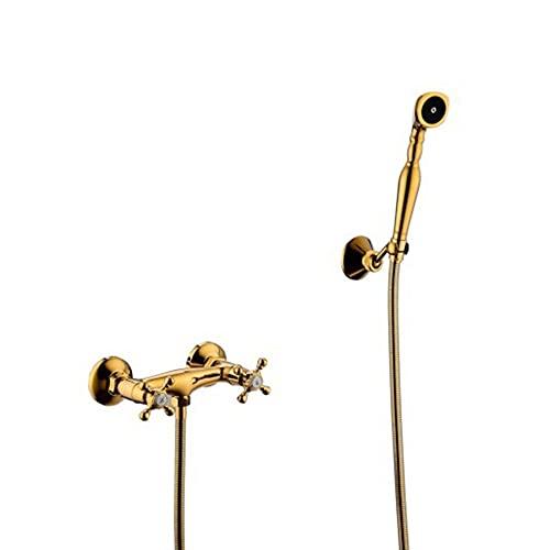 Grifo de Bañera Dorado Oro Grifo Pared Ducha Double Cross Manija Mezclador de Ducha Grifo Bañera y Ducha para Baño