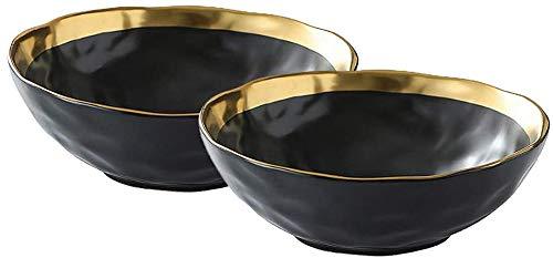 KKGUD Cuencos de cerámica vintage para sopa de cereales, arroz y ensalada de fideos, diseño elegante con bordes dorados, negro, juego de 2 (19,8 cm)