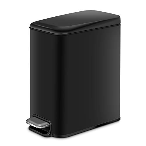 H+LUX Rectangular Slim Trash Can with Lid Soft Close, Small Bathroom Trash Can with Removable Inner Wastebasket, Anti-Fingerprint Matt Finish, 5L/1.3Gal, Black