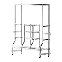SafeRacks Golf Equipment Organizer Rack | Heavy-Duty Steel Wire Shelf Extra-Wide | Fits 2 Extra-Large Bags Plus Accessories