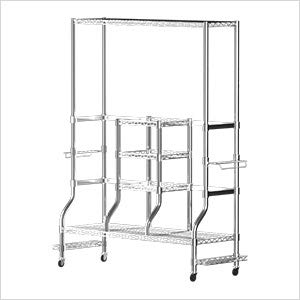 SafeRacks Deluxe Golf Equipment Organizer Rack | Heavy-Duty Steel Wire Shelf Extra-Wide | Fits 2 Extra-Large Bags Plus Accessories (Golf Rack Deluxe)