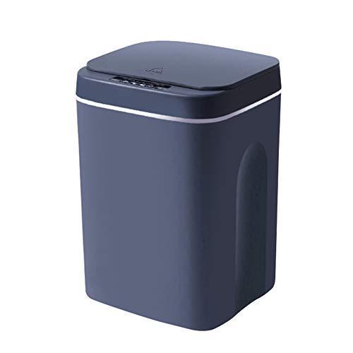 LFONCE - Cubo de basura inteligente con tapa de sensor, 12L/14L/16L, cubo de basura totalmente automático, sin contacto para desechos higiénicos (modelo de carga 16L, gris oscuro)