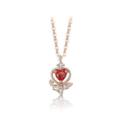 JJH Red Heart Necklace for Women, 925 Sterling Silver, for Wife Mother Girlfriend Birthday Christmas, 45 cm / 17.7' Chain