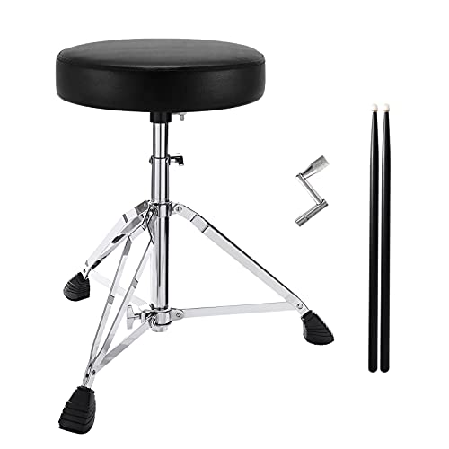 Drum Throne, Drum Stool Height Adjustable with Padded Drum Seat, Drum Set Thrones for Adults and Kids, 5A Drumsticks and Drum Key Included