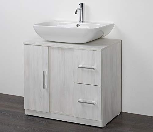 IdeaStella Odessa Sottocolonna 1 Anta + 2 Cassetti. Mobile Bagno sotto lavabo Copri Colonna lavandino Universale (Larice Bianco)