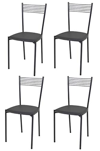 Tommychairs - Set 4 sedie moderne e di design Elegance per cucina bar salotti e sala da pranzo, con robusta struttura in acciaio grigio scuro e seduta imbottita e rivestita in ecopelle grigio scuro