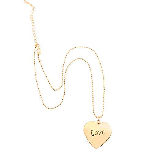 Baoblaze Love Heart Locket Necklace Picture Lockets Regalos de Cumpleaños para Hombres, Mujeres - Oro, 2.8x2.8cm