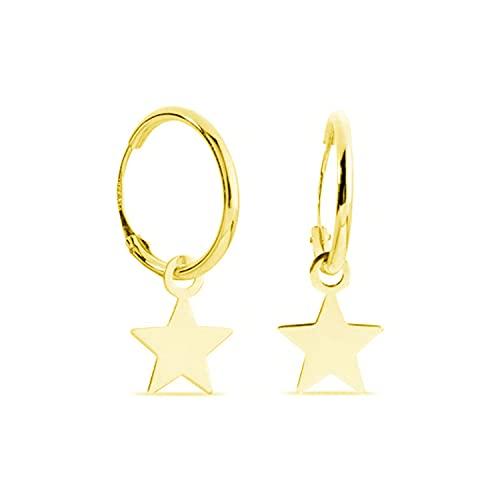 Pendientes de Aro 13 Mm Mujer Oro Amarillo 18 Kt / 750 Estrella Lisa Cierre Clásico