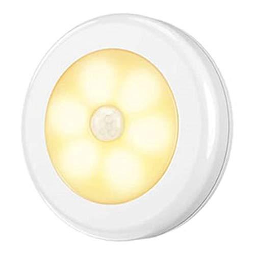 センサーライト 室内 屋内 人感 丸形 階段ライト 玄関ライト センサー LED 廊下 電池式 フットライト LSF-03 (オレンジ本体白色)